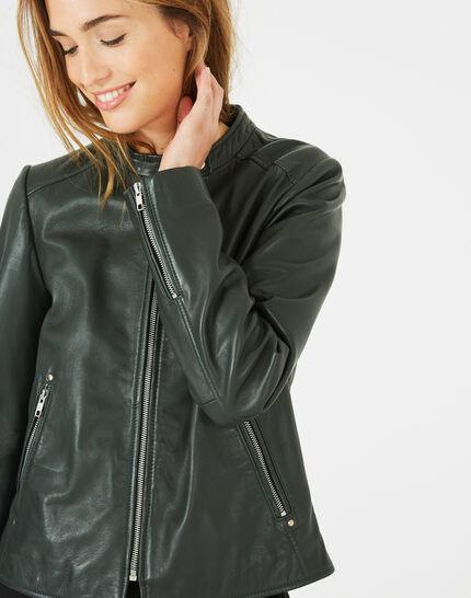 Hugo forest green leather jacket (1) - 1-2-3