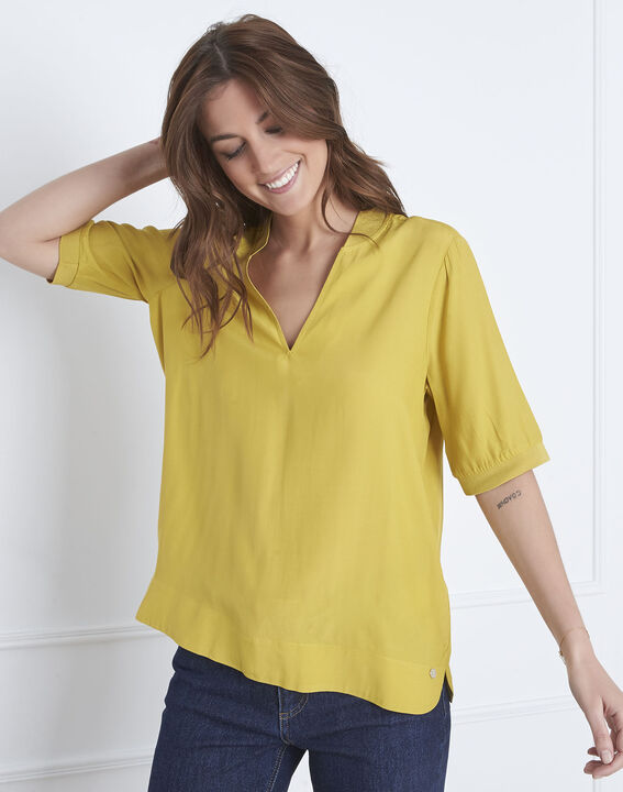 Anijskleurige blouse met soepele V-hals Virginie PhotoZ | 1-2-3