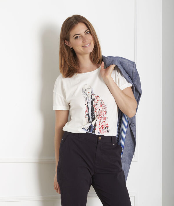 Ecrufarbenes T-Shirt mit Print Gabrielle PhotoZ   1-2-3
