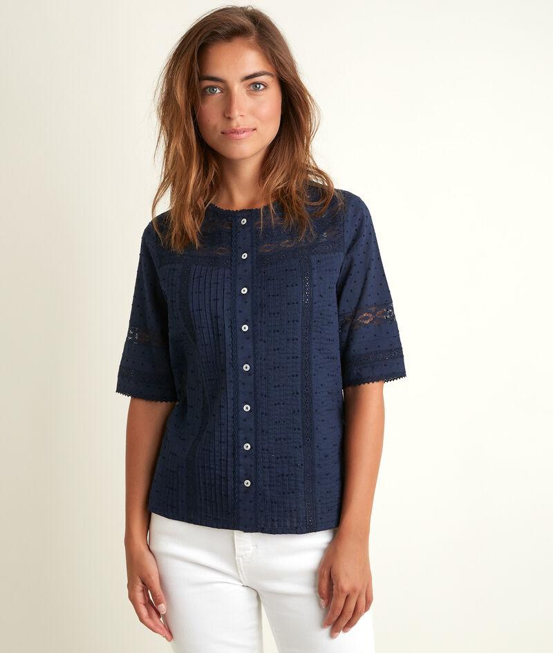 Blauwe kanten blouse Edia PhotoZ | 1-2-3