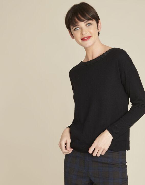 Schwarzer Pullover mit schillerndem Ausschnitt aus Wollgemisch Beryl (1) - Maison 123