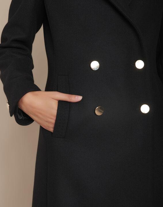 Manteau noir droit double boutonnage en laine Jeff PhotoZ | 1-2-3