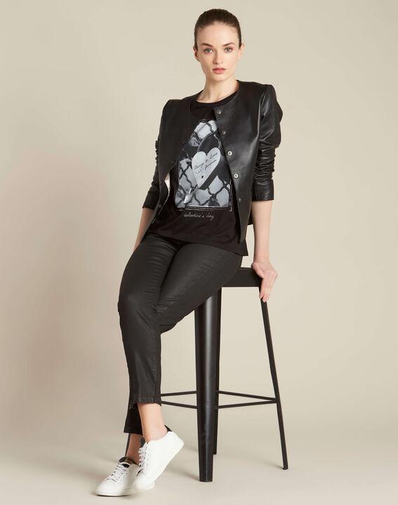 Enamorar padlock printed black T-shirt (2) - 1-2-3