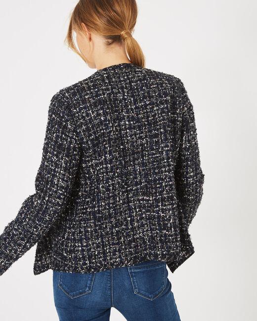 Veste indigo foncé en tweed Mouna (2) - 1-2-3