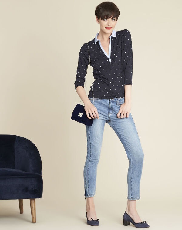 Galice navy blue printed T-shirt in chambray (2) - 1-2-3
