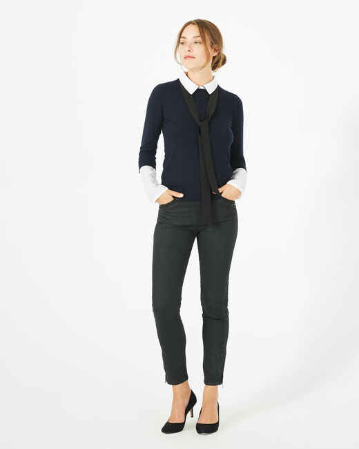 Pauline navy blue cashmere mix sweater (2) - 1-2-3