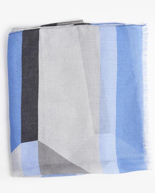 Foulard modal et laine bleu à rayures Figue (2) - 1-2-3