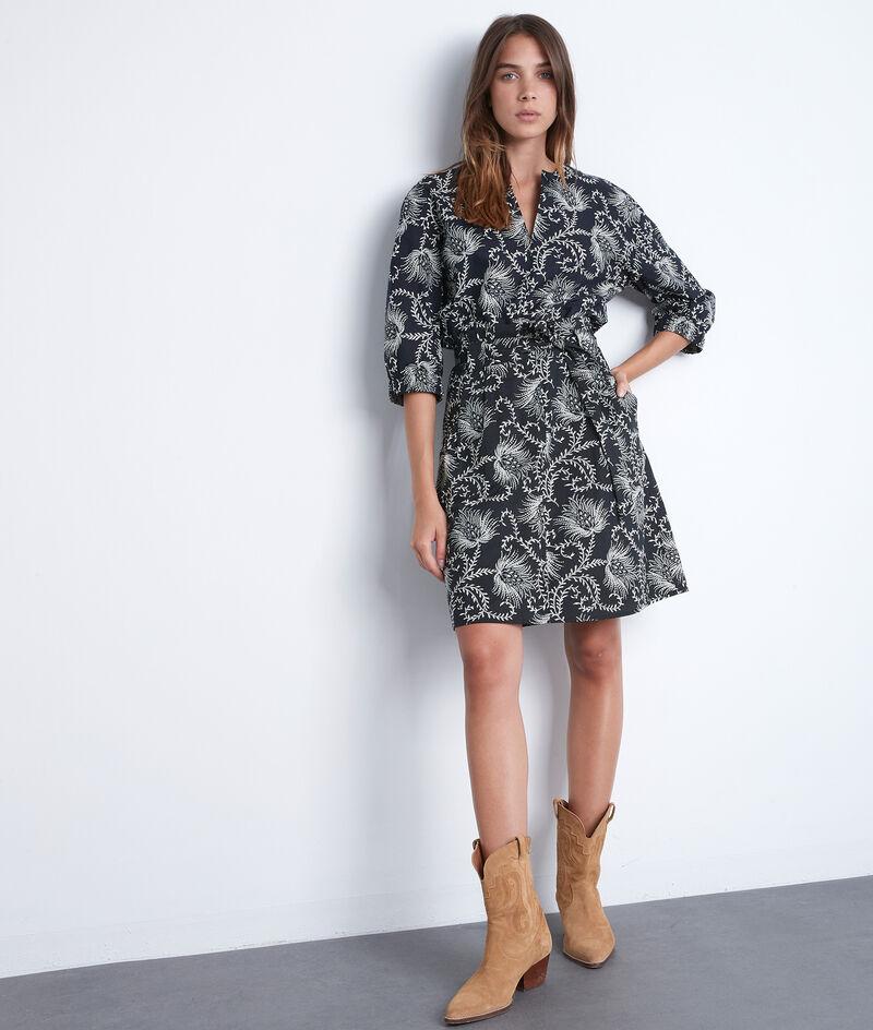 Jupe courte en coton imprimé noir et blanc Fiona PhotoZ | 1-2-3