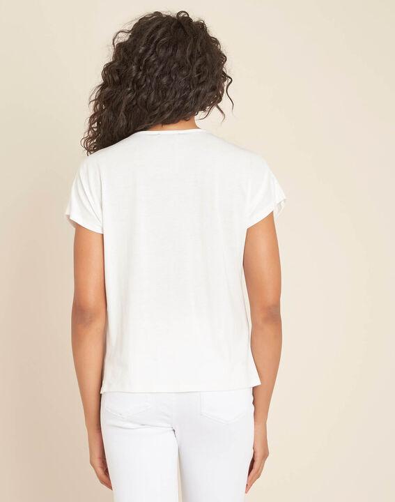 Gaia ecru dual-fabric V-neck top (4) - 1-2-3