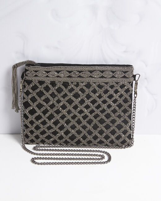 Irene embroidered black clutch bag (1) - 1-2-3