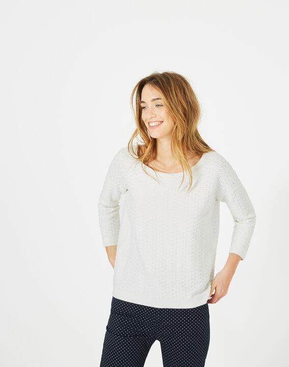 Pop ecru sweater with stunning stitchwork PhotoZ | 1-2-3