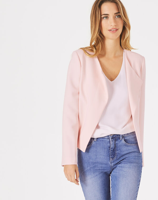 Veste courte rose poudre lili à