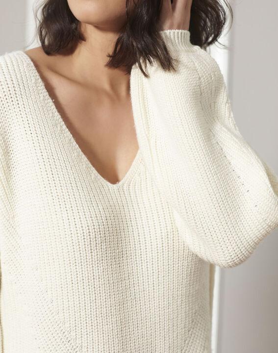 Pull écru oversize laine mélangée Blanche (3) - 1-2-3