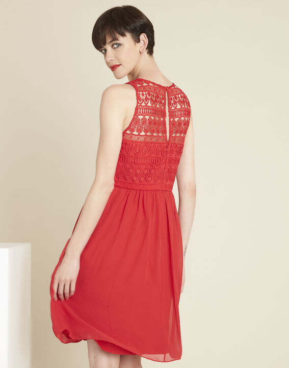 Ibiza red dress with lace at the neckline (4) - 1-2-3