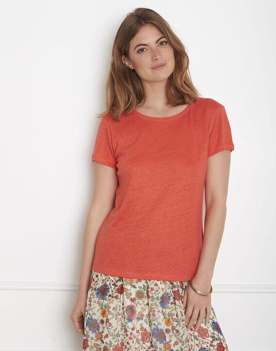 Tee-shirt orange jour échelle en lin Pin PhotoZ   1-2-3