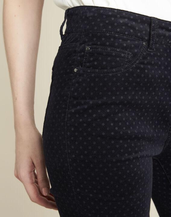 Donkerblauwe slim-fit jeans van fluweel met stippen Vendome (3) - 37653