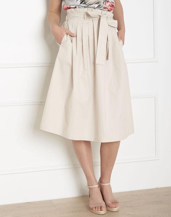 Jupe blanc cassé plis et ceinture Suzon PhotoZ | 1-2-3