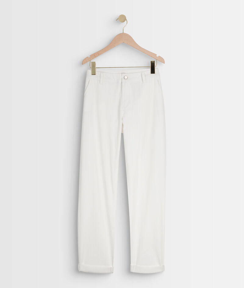 Pantalon droit en coton blanc Francis PhotoZ   1-2-3