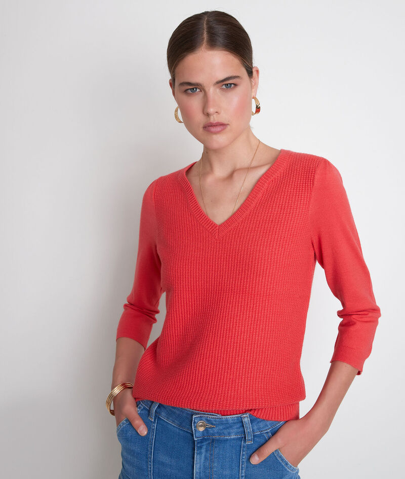 Pull en double maille rouge Théa PhotoZ | 1-2-3