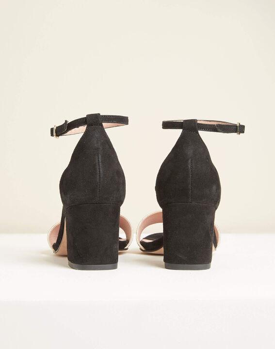 Zwarte en gouden leren sandalen met hak Khloe (4) - 37653