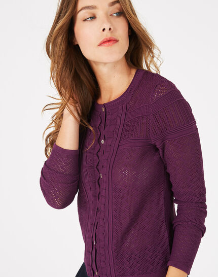 Polka blackcurrant openwork cardigan PhotoZ | 1-2-3