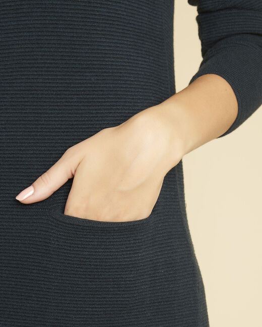 Donkergroene jurk met opstaande kraag Belinda (2) - 37653