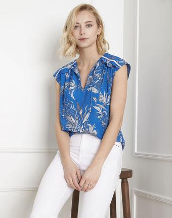 Blouse bleue imprimé fleuri valmond bleu moyen.