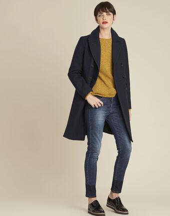 Gele trui met ronde hals van gemengd wol bagno ocre.