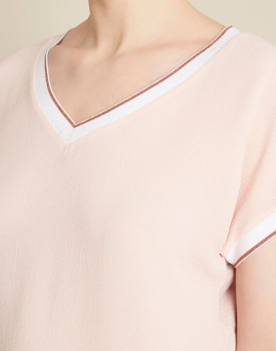 Gauttier V-neck pale pink T-shirt with gold trim PhotoZ | 1-2-3