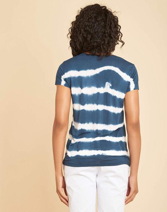 """Blaues Streifen-T-Shirt mit """"Tie-Dye""""-Effekt (4) - 1-2-3"""