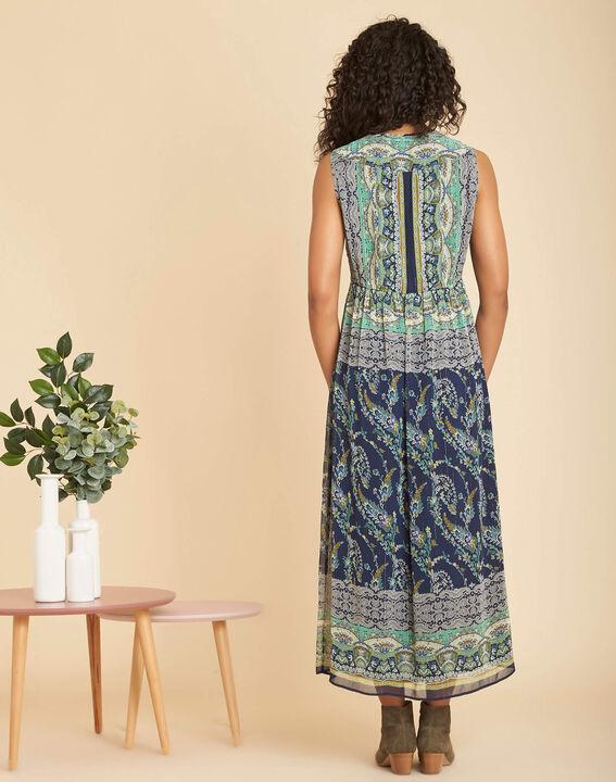 Robe bleue longue imprimée Paillette (4) - 1-2-3