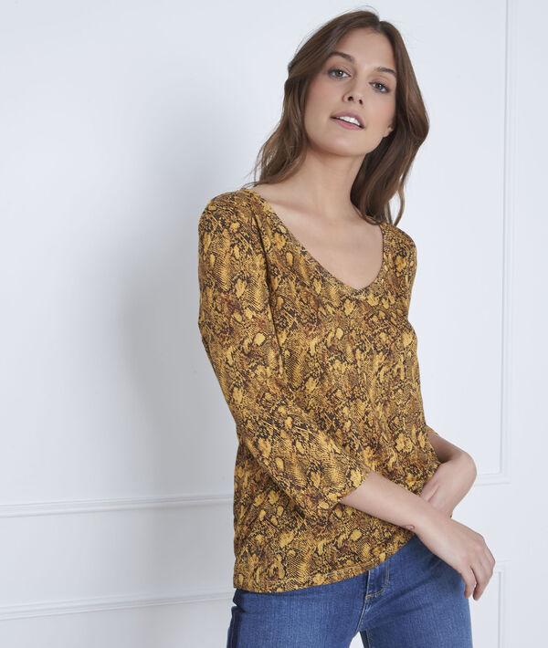 Tee-shirt jaune imprimé serpent Pavel PhotoZ | 1-2-3