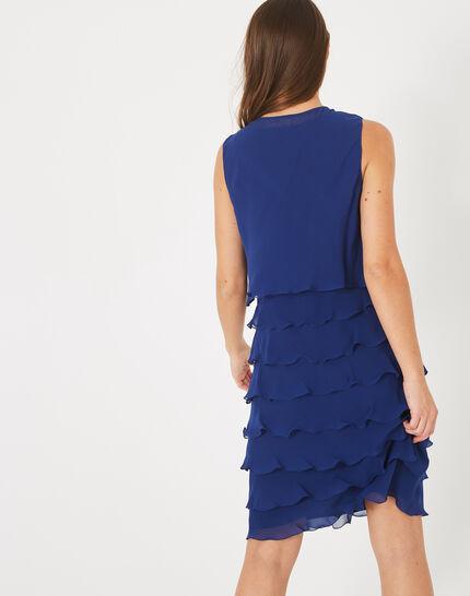 Blaues Volant-Kleid aus Seide Flower (2) - 1-2-3