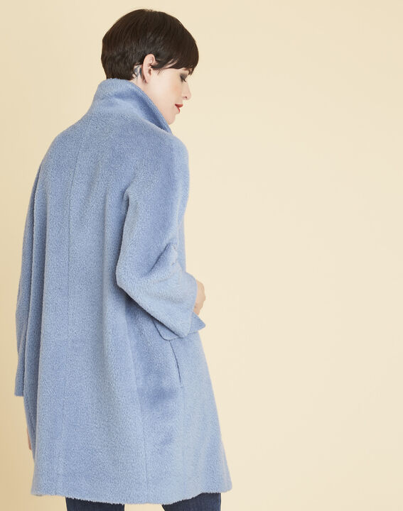 Manteau azur 3/4 en laine mélangée Edith (4) - 1-2-3