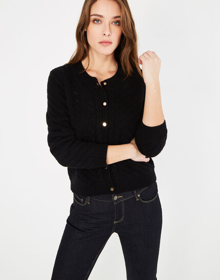Piccolo black cardigan with golden buttons - 123
