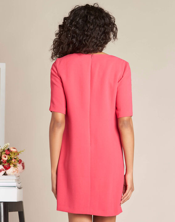 Plume fuchsia straight-cut dress with eyelets (4) - 1-2-3
