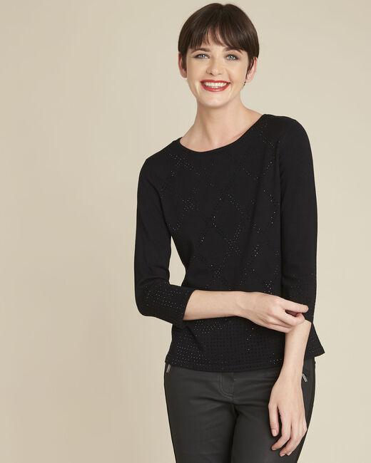 Schwarzer Pullover mit Strass Brio (2) - 1-2-3