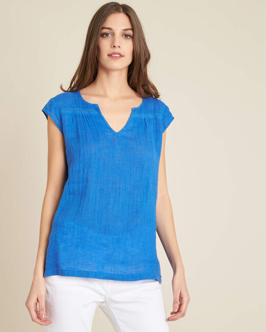 Gala blue linen T-shirt with granddad collar (2) - 1-2-3