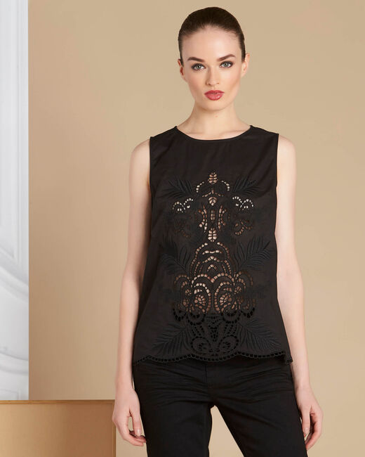 Genat embroidered black sleeveless top (2) - 1-2-3