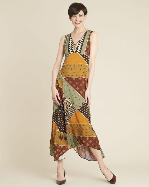 Gele jurk met etnische print Dulce (2) - 37653