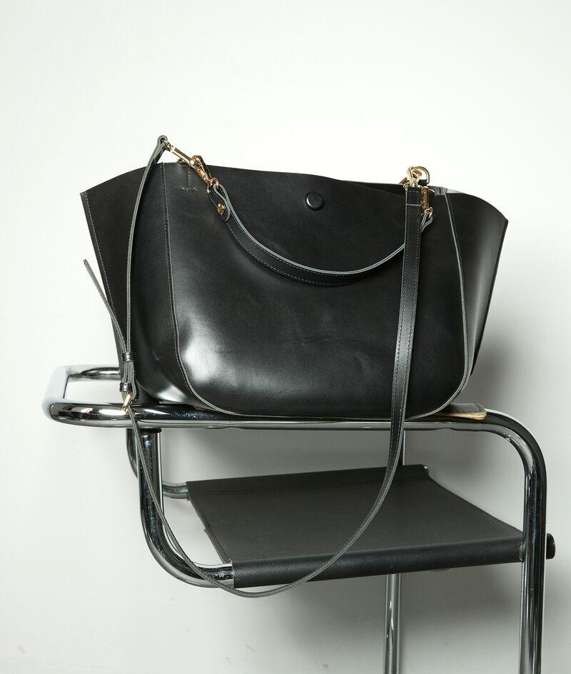 Grand sac demi-lune en cuir noir Charlotte PhotoZ | 1-2-3
