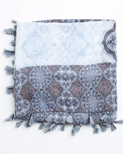 Blassblaues Halstuch mit Rosettenprint Ariette (1) - 1-2-3