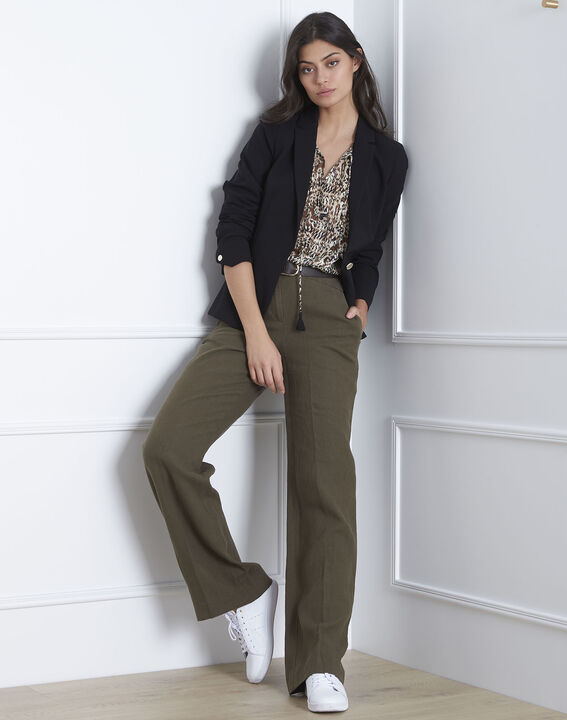 Pantalon kaki large en lin Gobi (2) - Maison 123