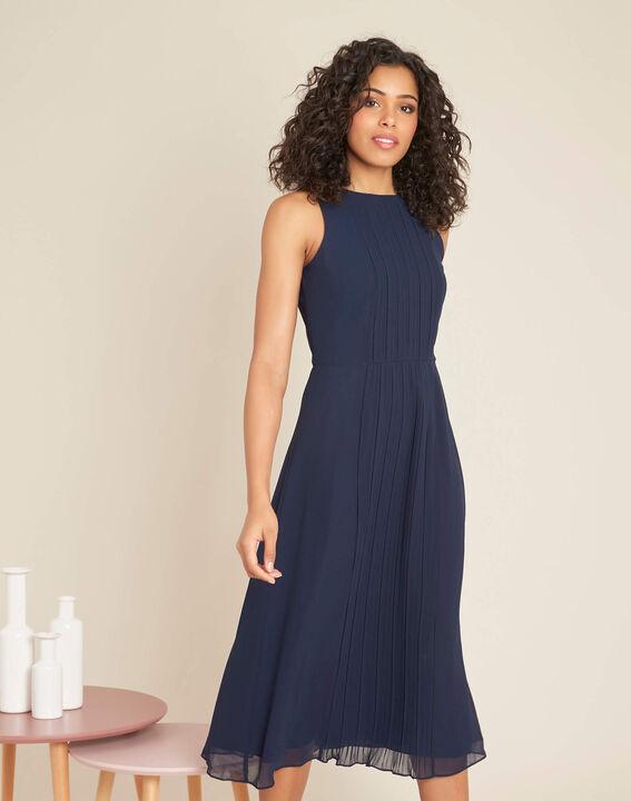 Marineblaues mittellanges Plissée-Kleid Isabella (3) - 1-2-3