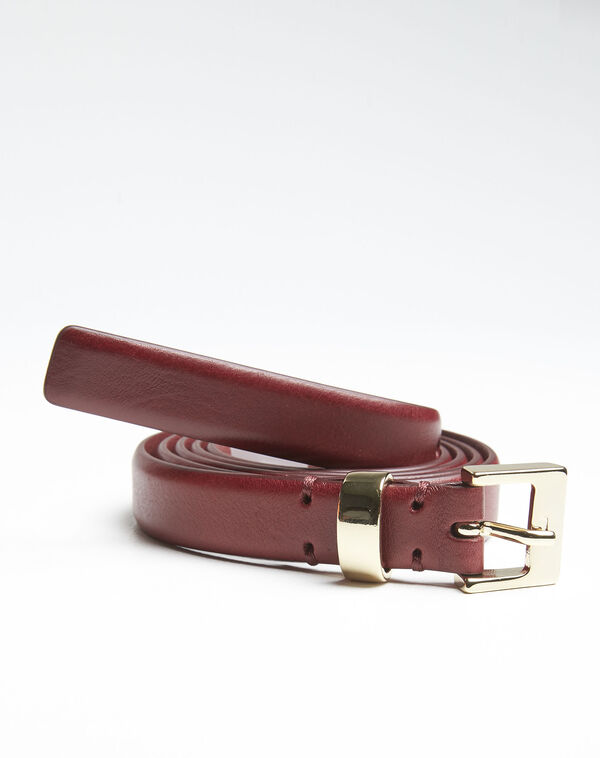 Quentin red leather belt with a gold tone buckle (1) - 1-2-3