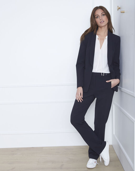 Hugo straight-cut navy microfibre trousers with buttoned belt (2) - 1-2-3