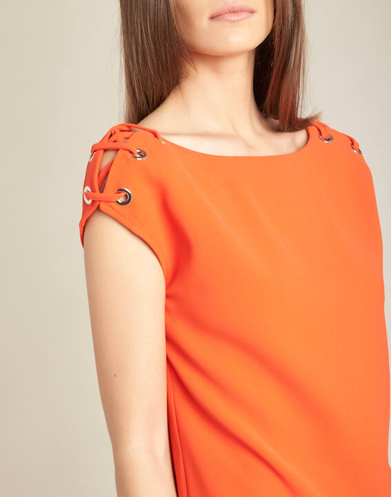 Germina orange blouse with eyelets and laces (1) - 1-2-3