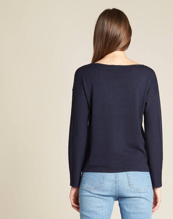 Nefle navy blue sweater with openwork neckline (4) - 1-2-3