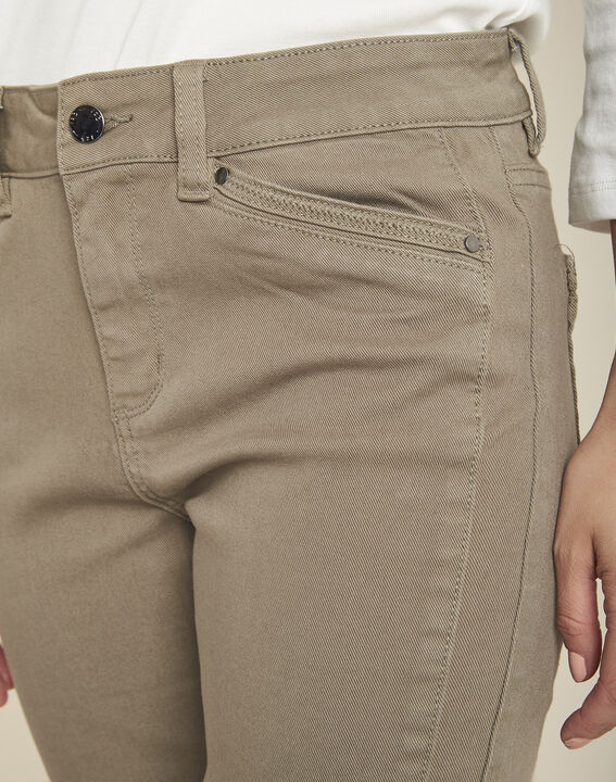 Lichtgroene slim fit 7/8-jeans met ritsen Opéra (3) - 37653