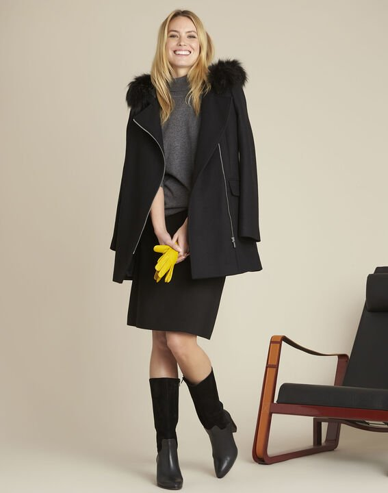 Black wool coat with Perfecto-style collar (2) - 1-2-3